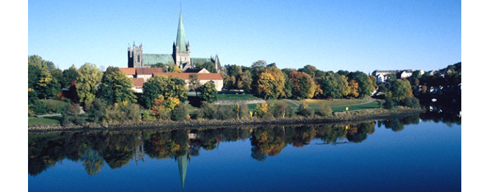 Nidaros Cathedral on the bank of Nidelven in Trondheim